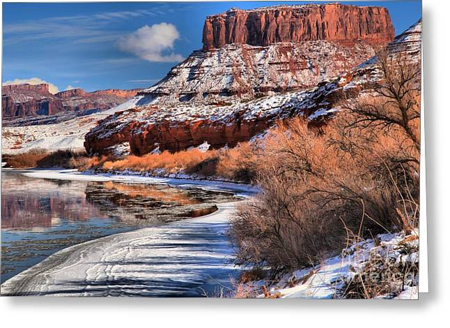 128 Greeting Cards - Red Rock River Landscape Greeting Card by Adam Jewell
