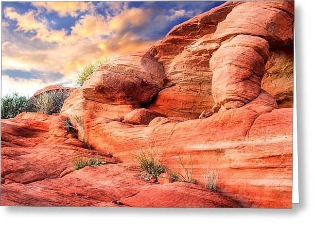 Colorful Cloud Formations Greeting Cards - Red rock sculpture with sunset in background Greeting Card by Kim M Smith