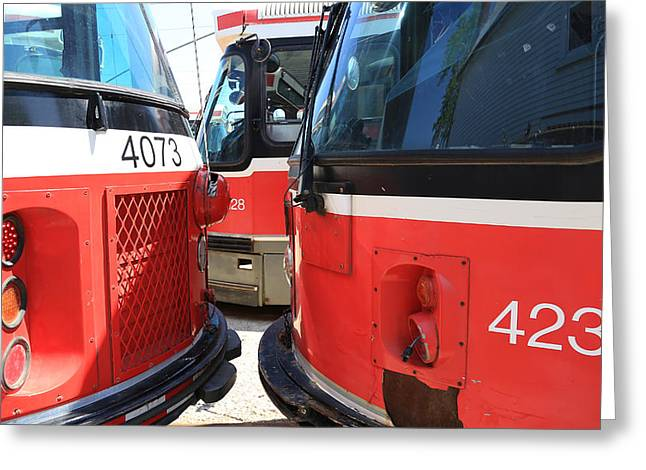 Tram Red Greeting Cards - Red Rocket 34 Greeting Card by Andrew Fare