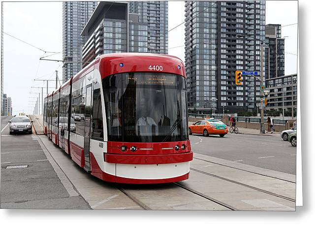 Tram Red Greeting Cards - Red Rocket 38 Greeting Card by Andrew Fare