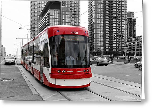 Tram Red Greeting Cards - Red Rocket 38c Greeting Card by Andrew Fare