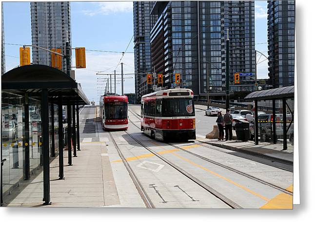 Tram Red Greeting Cards - Red Rocket 40 Greeting Card by Andrew Fare