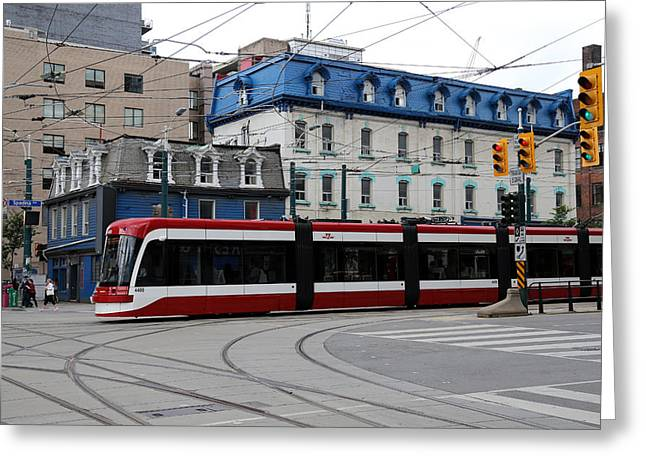 Tram Red Greeting Cards - Red Rocket 41 Greeting Card by Andrew Fare