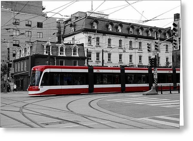 Tram Red Greeting Cards - Red Rocket 41c Greeting Card by Andrew Fare