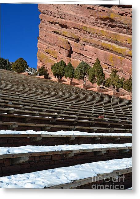 Theater Pyrography Greeting Cards - Red Rocks Amphitheater Greeting Card by Yoshiko Wootten