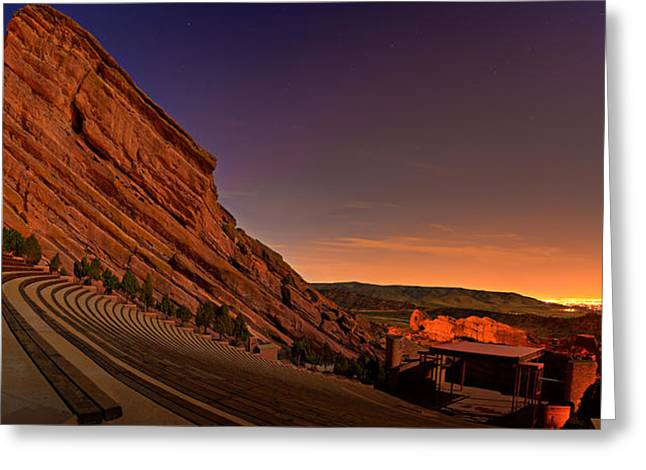 Panoramic Photography Greeting Cards - Red Rocks Amphitheatre at Night Greeting Card by James O Thompson