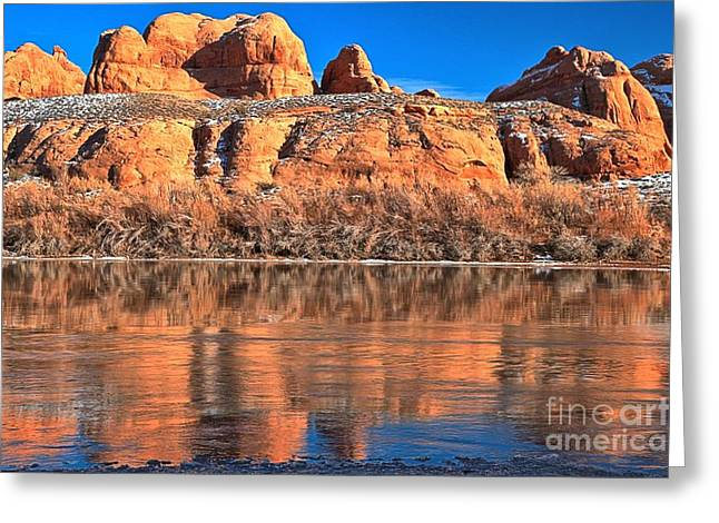 Southern Utah Greeting Cards - Red Rocks And Icy Waters Greeting Card by Adam Jewell