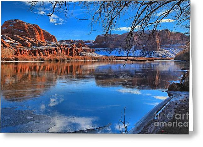 Southern Utah Greeting Cards - Red Rocks Ice And Blue Skies Greeting Card by Adam Jewell