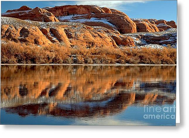 Southern Utah Greeting Cards - Red Rocks In The Green River Greeting Card by Adam Jewell