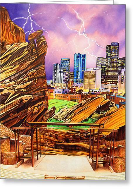 Dave Matthews Band Concert Greeting Cards - Red Rocks Greeting Card by Joshua Morton