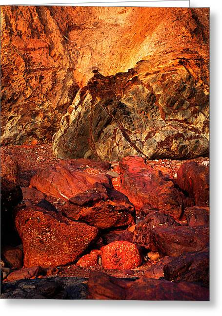 Lanscape Greeting Cards - Red Rocks of Bogmalo Beach. South Goa Greeting Card by Jenny Rainbow