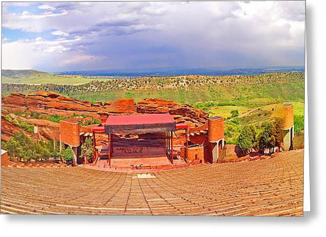 Recently Sold -  - Geology Photographs Greeting Cards - Red Rocks Park Amphitheater - panoramic Greeting Card by Rich Walter