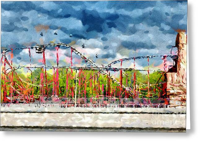 Inversion Paintings Greeting Cards - Red roller coaster painting Greeting Card by Magomed Magomedagaev
