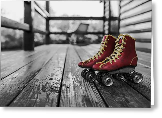 Roller Skating Greeting Cards - Red Roller Skates on the Porch Greeting Card by Mountain Dreams