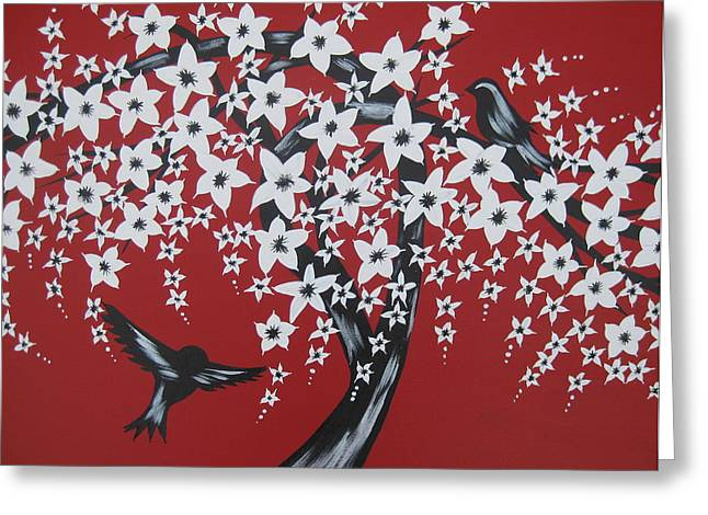 Canvas Framing Paintings Greeting Cards - Red Romance Greeting Card by Cathy Jacobs