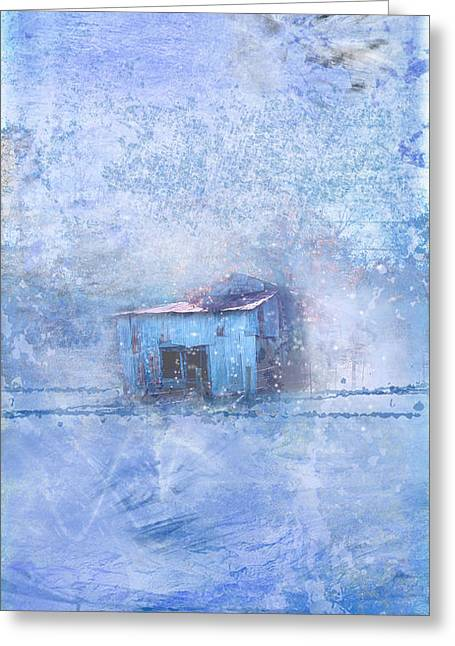 Red Roofed Barn Greeting Cards - Old Barn With Red Roof in Blue Greeting Card by Marty Malliton