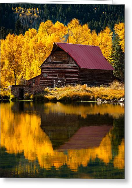 Red Roofed Barn Photographs Greeting Cards - Red Roof Barn In Fall Greeting Card by Adam Schallau