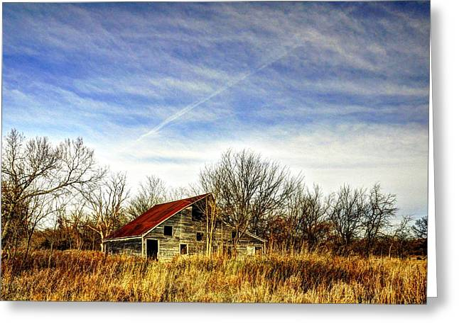 Red Roofed Barn Greeting Cards - Red Roof Barn Greeting Card by Jean Hutchison