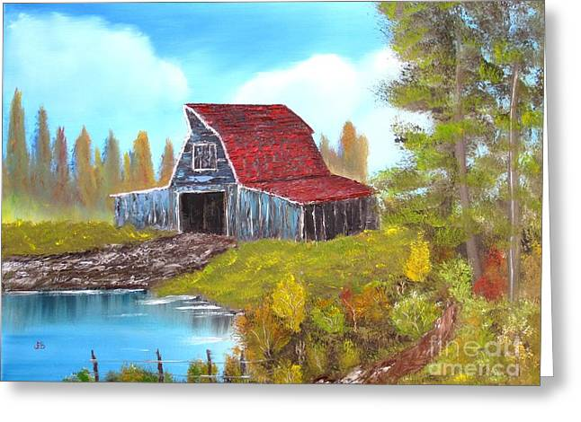 Red Roofed Barn Greeting Cards - Red Roof Barn Greeting Card by John Burch