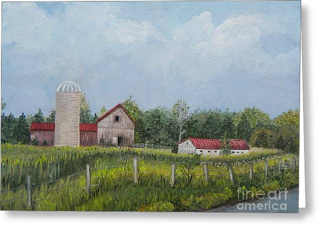 Red Roofed Barn Greeting Cards - Red Roof Barns Greeting Card by Reb Frost