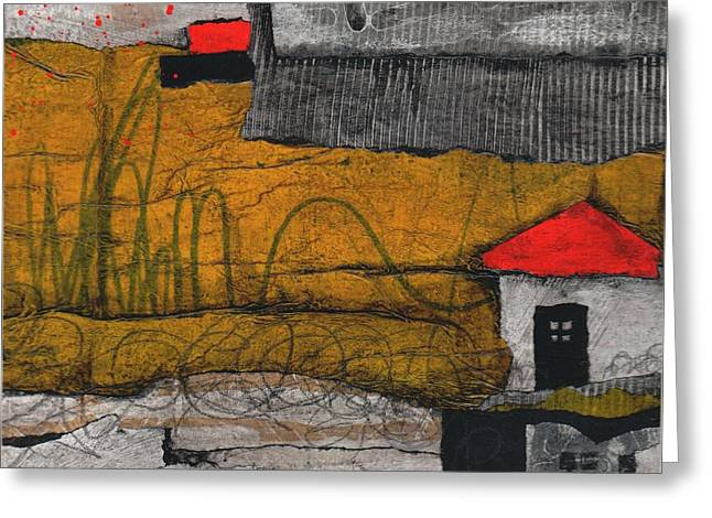 Red Roofs Greeting Cards - Red roof black door Greeting Card by Laura  Lein-Svencner
