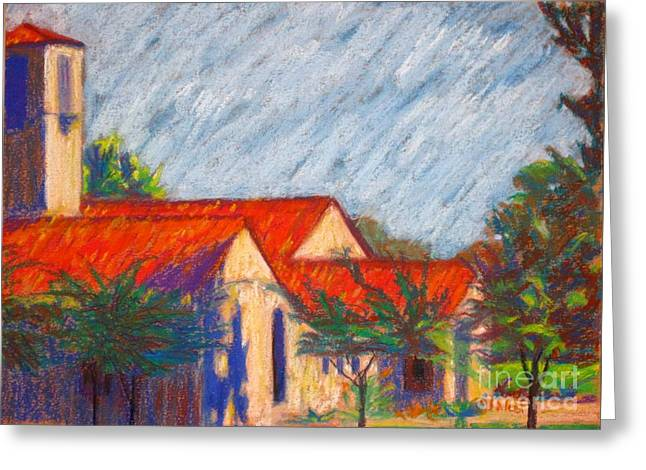 Urban Buildings Pastels Greeting Cards - Red Roof Church Greeting Card by Katrina West