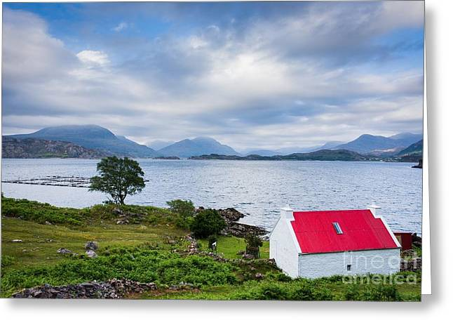Torridon Greeting Cards - Red Roof Cottage Greeting Card by Maciej Markiewicz