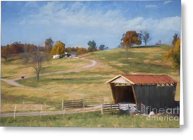 Arkansas Greeting Cards - Red roof covered bridge Greeting Card by Elena Nosyreva