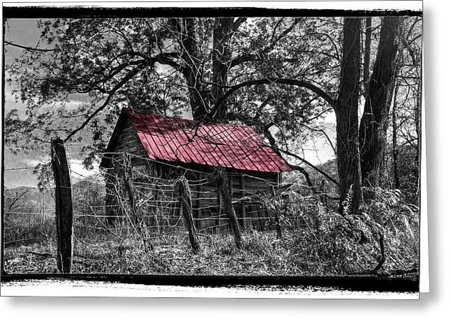 Barn Pen And Ink Greeting Cards - Red Roof Greeting Card by Debra and Dave Vanderlaan
