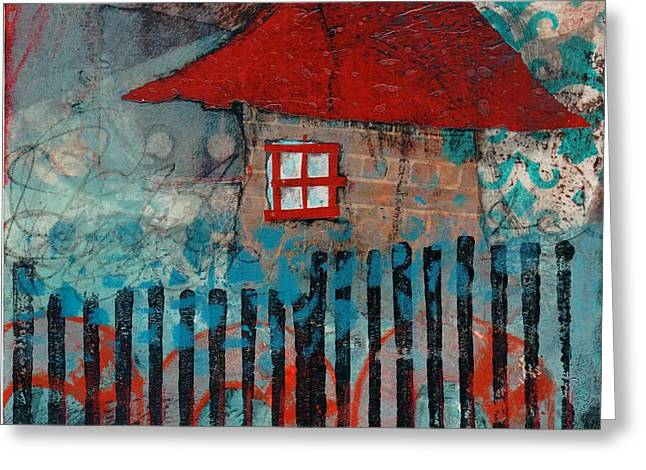 Whimsical Mixed Media Greeting Cards - Red Roof House Greeting Card by Laura  Lein-Svencner
