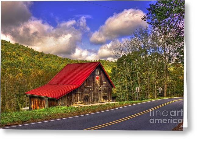 Red Roofed Barn Greeting Cards - Red Roof In The Blue Ridge Mountains Greeting Card by Reid Callaway