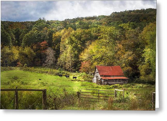 Red Roofed Barn Greeting Cards - Red Roof in the Smokies Greeting Card by Debra and Dave Vanderlaan