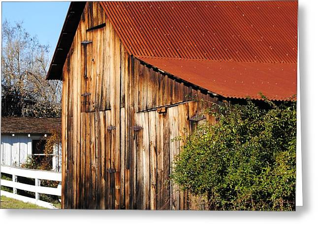 Red Roofed Barn Greeting Cards - Red Roof Greeting Card by Jamie Christensen