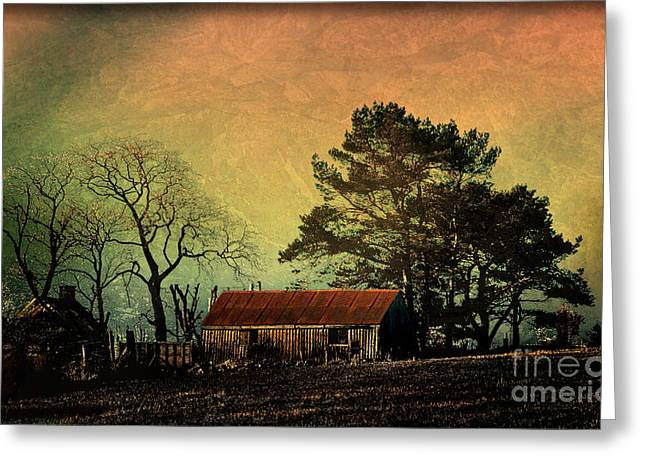 Wooden Building Greeting Cards - Red Roof Landscape Greeting Card by Liz  Alderdice