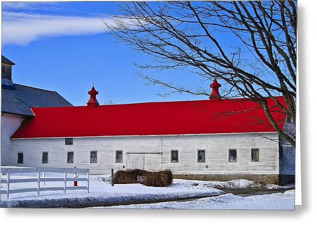 Red Roofed Barn Greeting Cards - Red Roof Greeting Card by Marisa Geraghty