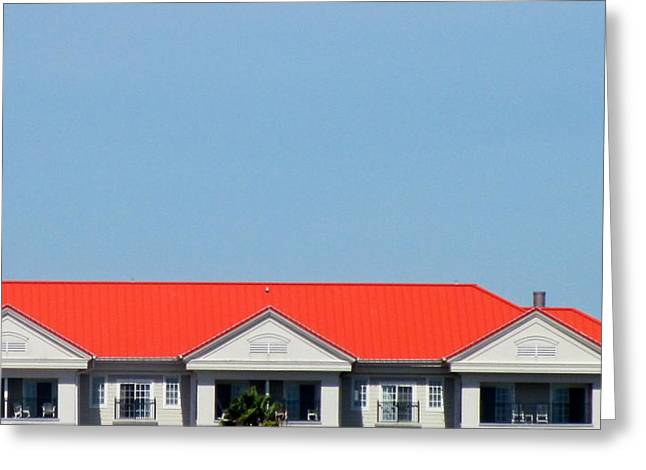 Red Roof Resort Greeting Card by Randall Weidner