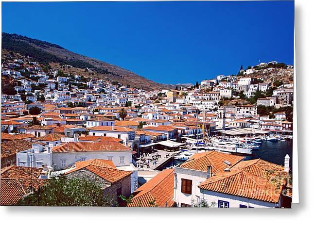Port Town Greeting Cards - Red roofs Greeting Card by Aiolos Greek Collections