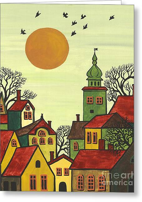 Margaryta Yermolayeva Greeting Cards - Red Roofs Greeting Card by Margaryta Yermolayeva