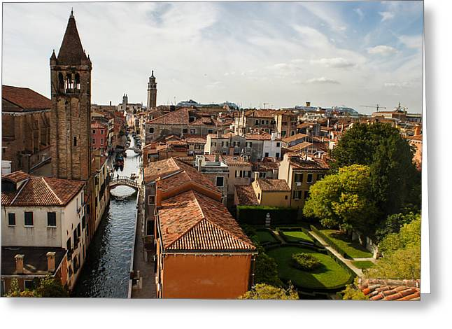 The Houses Greeting Cards - Red Roofs of Europe - Venetian Canal Palaces Gardens and Courtyards Greeting Card by Georgia Mizuleva