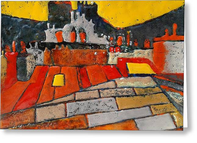 Urban Buildings Glass Greeting Cards - Red roofs yellow sky  Greeting Card by Olga Aleksandrova