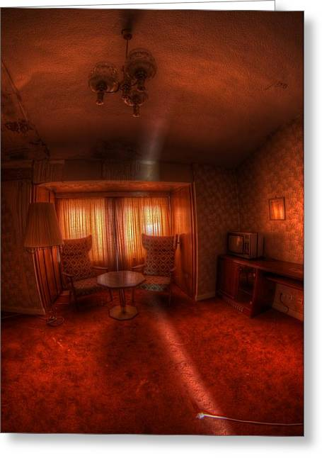 Creepy Digital Art Greeting Cards - Red Room Greeting Card by Nathan Wright