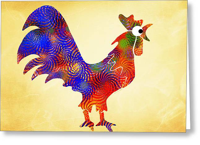 Red Rooster Art Greeting Card by Christina Rollo