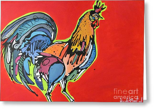 Chickens Greeting Cards - Red Rooster Greeting Card by Nicole Gaitan