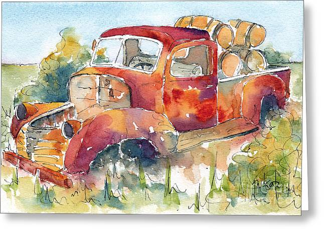 Sienna Greeting Cards - Red Rooster Rust Bucket Greeting Card by Pat Katz