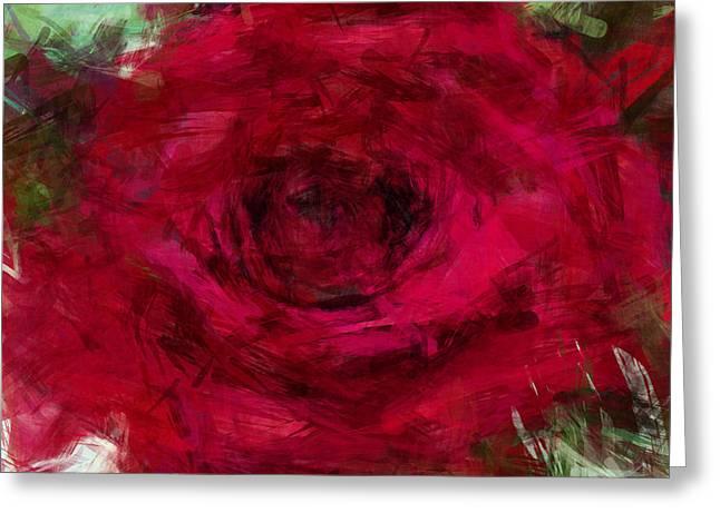 Rose Petals Greeting Cards - Red Rose 1 Greeting Card by David G Paul