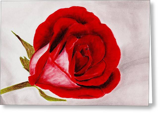 Valentines Day Pastels Greeting Cards - Red Rose Greeting Card by Anastasiya Malakhova
