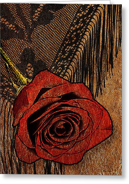 Interior Still Life Digital Greeting Cards - Red Rose And Shawl Gold Leaf Greeting Card by Phyllis Denton