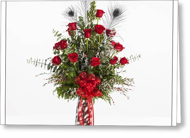 Vase Framed Prints Greeting Cards - Red Rose Arrangement 8050.02 Greeting Card by M K  Miller