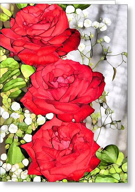 Babys Breaths Greeting Cards - Red Rose Bouquet Greeting Card by Dan Sproul