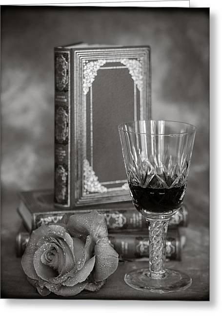 Red Wine Prints Greeting Cards - Red Rose BW Greeting Card by Mark Llewellyn